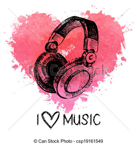 Headphone clipart music heart Illustration csp19161549 watercolor Music and