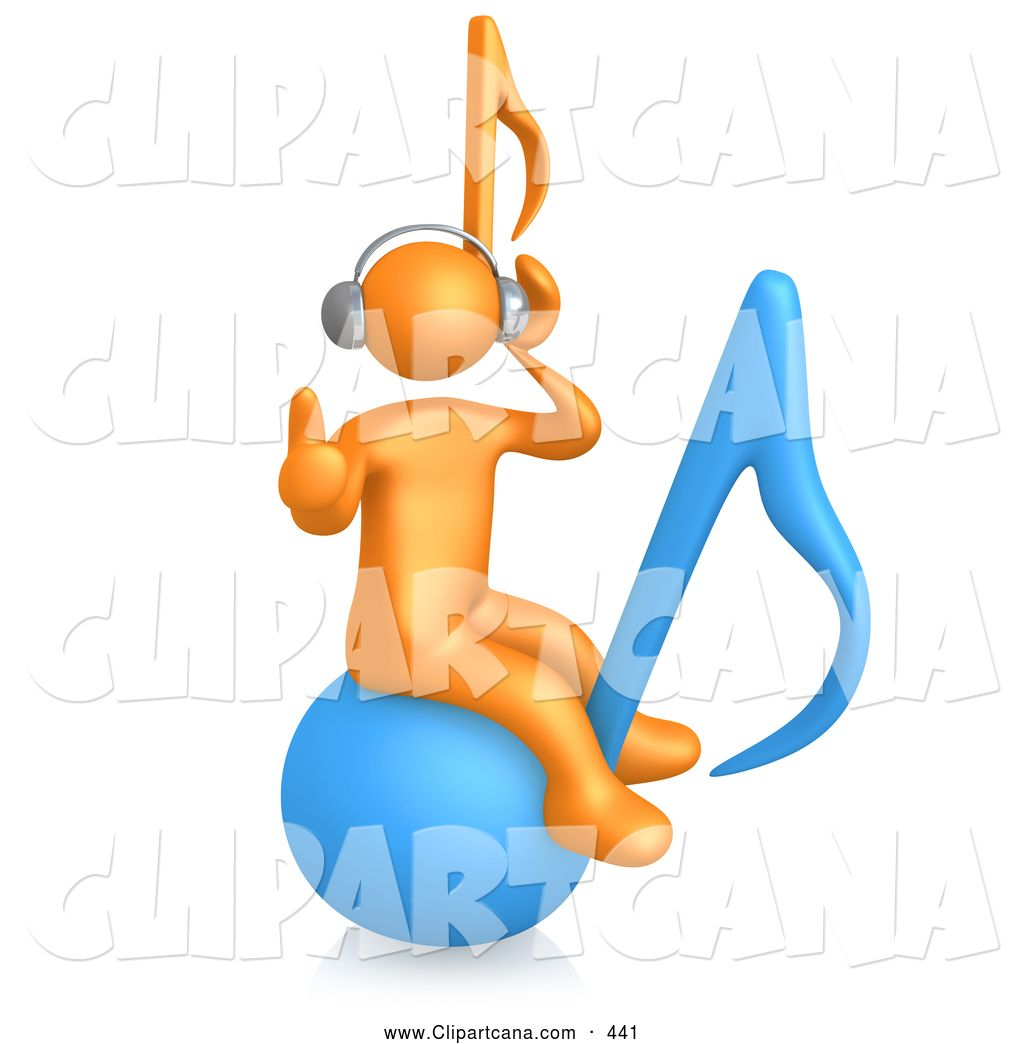 Headphone clipart orange While bouncing listening clipart tunes