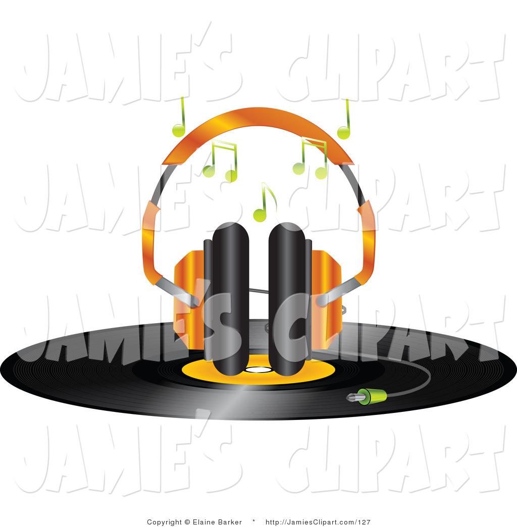 Headphone clipart orange Record Headphones of Set Headphones