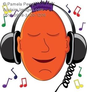 Headphone clipart orange Listening to Headphones Cartoon Stereo