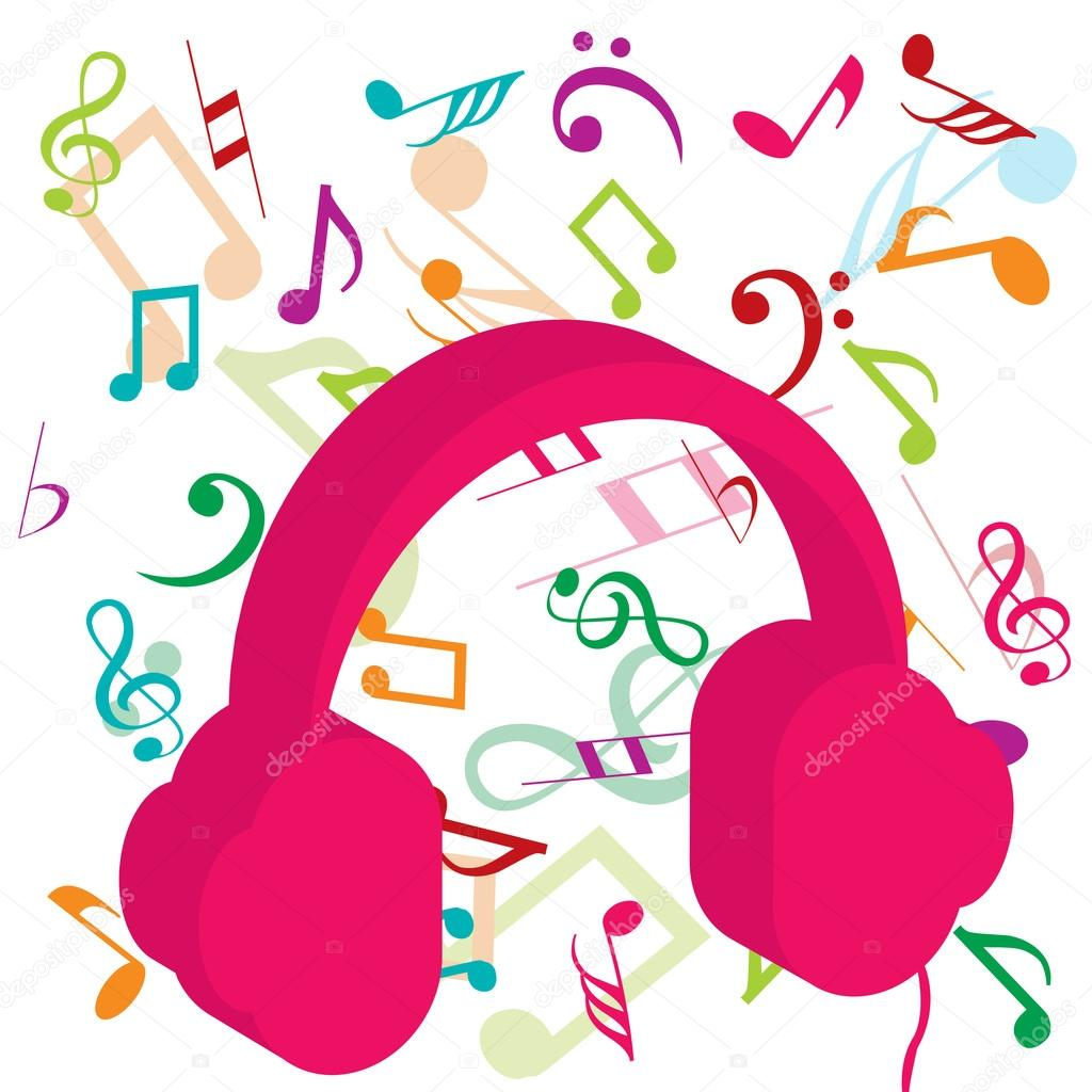 Headphone clipart pink headphone #4879554 Stock background — Photo
