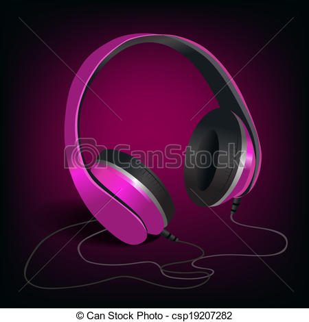 Headphone clipart pink headphone On Pink purple Pair