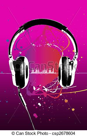 Headphone clipart pink headphone Modern on on music pink