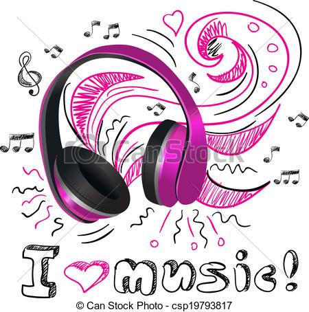 Headphone clipart purple Music Clip doodle Art Music