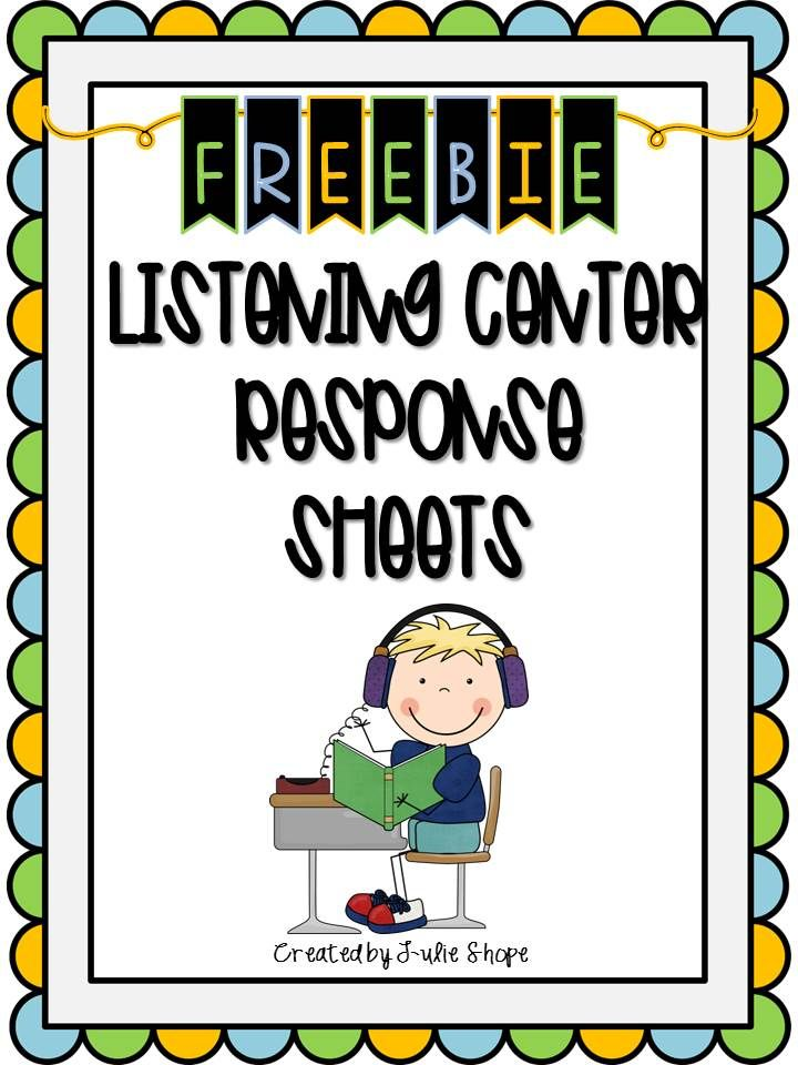 Headphone clipart reading center Sheets listening Response center Kindergarten