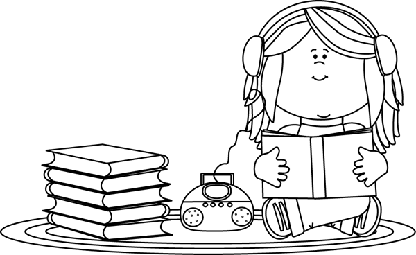 Headphone clipart reading center Listening on Girl a Book