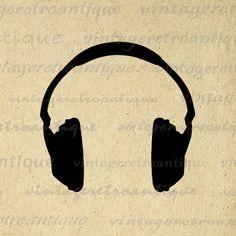 Headphone clipart retro Art Music Concept Vintage
