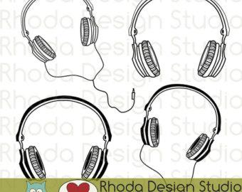 Headphone clipart retro Headphone Stamps Retro Clip Art