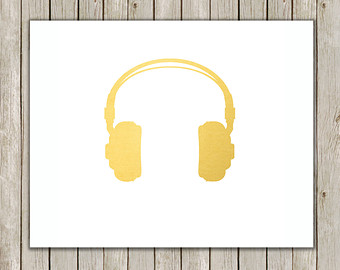Headphone clipart retro Music Print Wall Music Printable