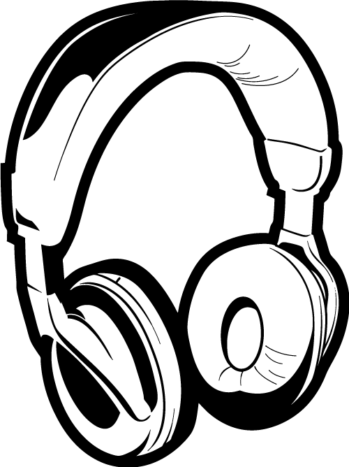 Drawn headphones line art Drawing cliparts Headphones Headphones Clipart