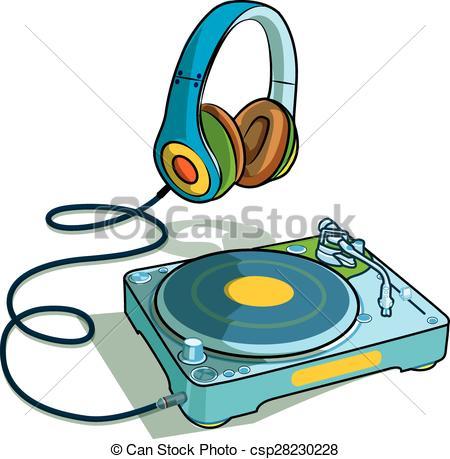 Headphone clipart turntable Set of Illustration set