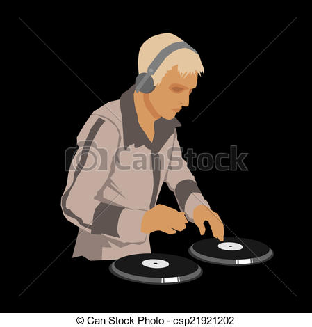 Headphone clipart turntable Wearing Record a the a