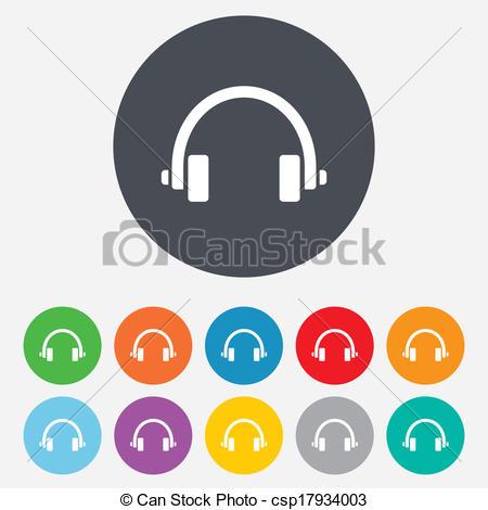 Headphone clipart vector Button Round of Headphones Clipart