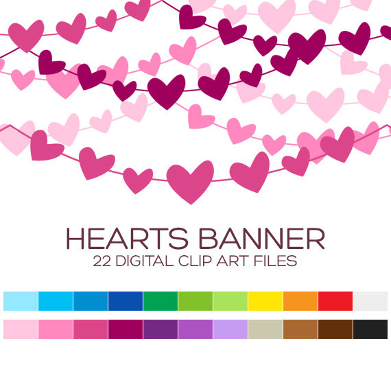 Hearts clipart heart banner Usage Banner digital Personal 6x1