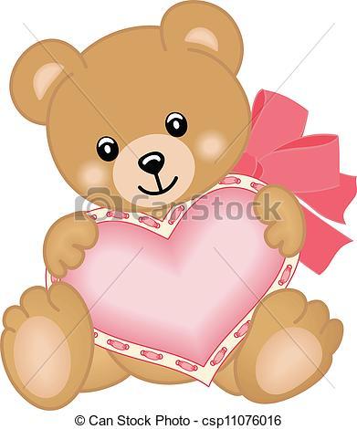 Teddy clipart cute heart  Art teddy heart csp11076016