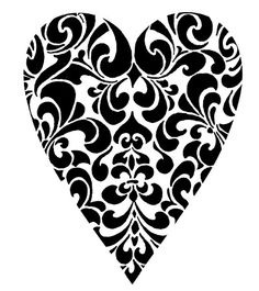 Damask clipart heart filigree Black of in and Zone