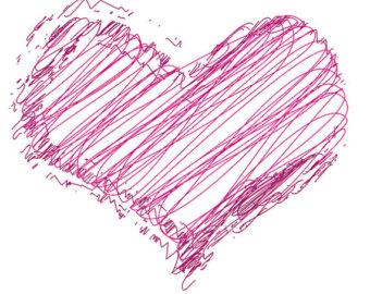 Hearts clipart scribbled Clip Digital Scribble Vector Coloured