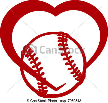 Hearts clipart softball Red Vector or clip art