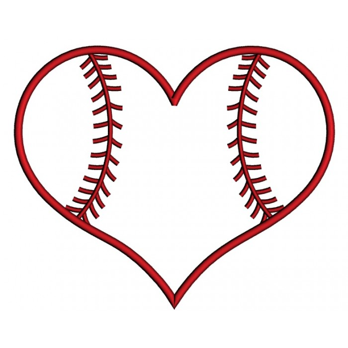Hearts clipart softball Embroidery Sports Sports Applique Machine
