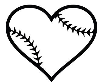 Hearts clipart softball Heart Heart and black
