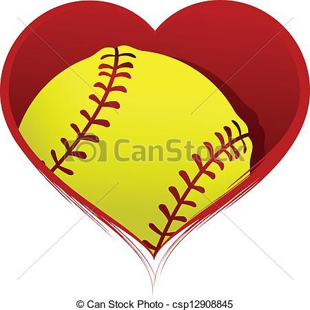 Hearts clipart softball Vector Softball with Softball