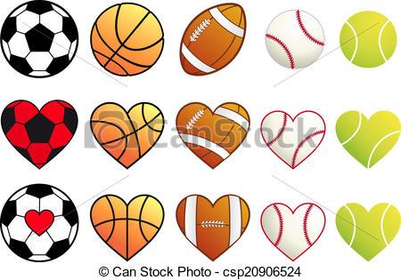 Sport clipart heart Set hearts balls and sport