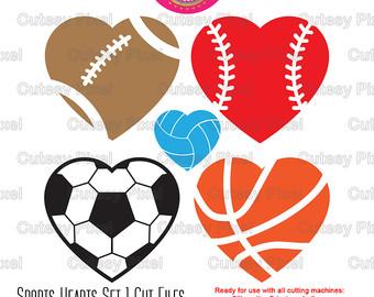 Sport clipart heart Basketball Volleyball Soccer baseball svg