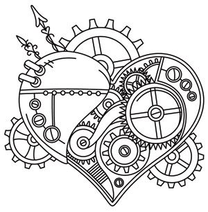 Drawn steampunk heart Urban Threads: Embroidery Heart Awesome