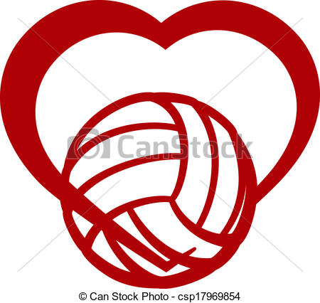 Hearts clipart volleyball Volleyball Vector Red volleyball of
