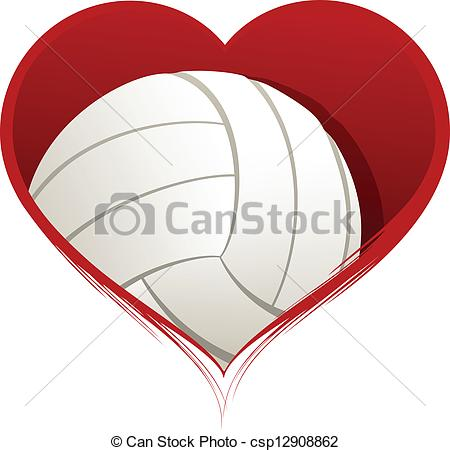 Hearts clipart volleyball Art Heart of Vector with