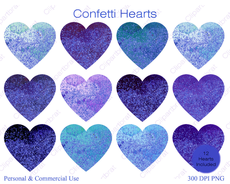 Hearts clipart navy BLUE Watercolor 12 WATERCOLOR Hearts
