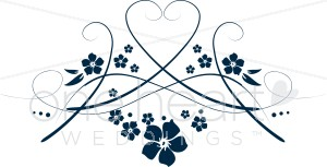 Hearts clipart navy Navy Floral Clipart Heart and