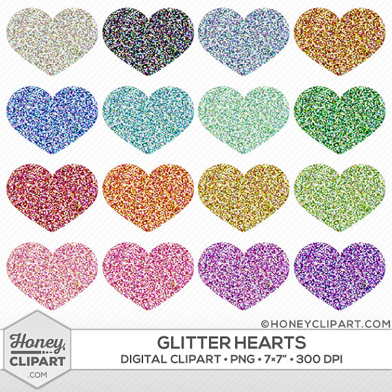 Hearts clipart pink sparkle Digital heart art heart Day