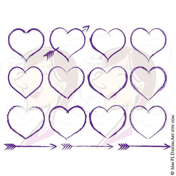 Hearts clipart rustic heart Clipart Clipart Hand Drawn Wedding
