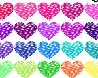 Hearts clipart scribbled Heart Digital Colors Clipart Bright