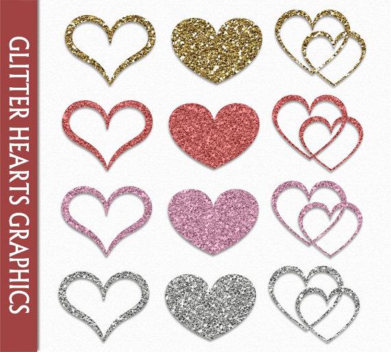 Hearts clipart silver glitter Art Scrapbook Glitter Hearts Hearts