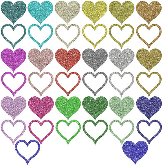 Hearts clipart silver glitter Rainbow Love Label hearts from