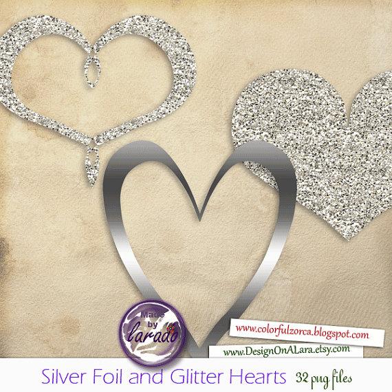 Hearts clipart silver glitter Glitter and Foil Glitter Silver
