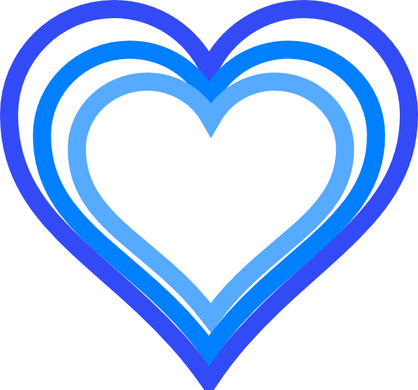 Hearts clipart triple Outline at Download Blue clip