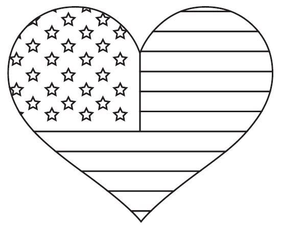 Heart-shaped clipart american flag Coloring American American Best coloring
