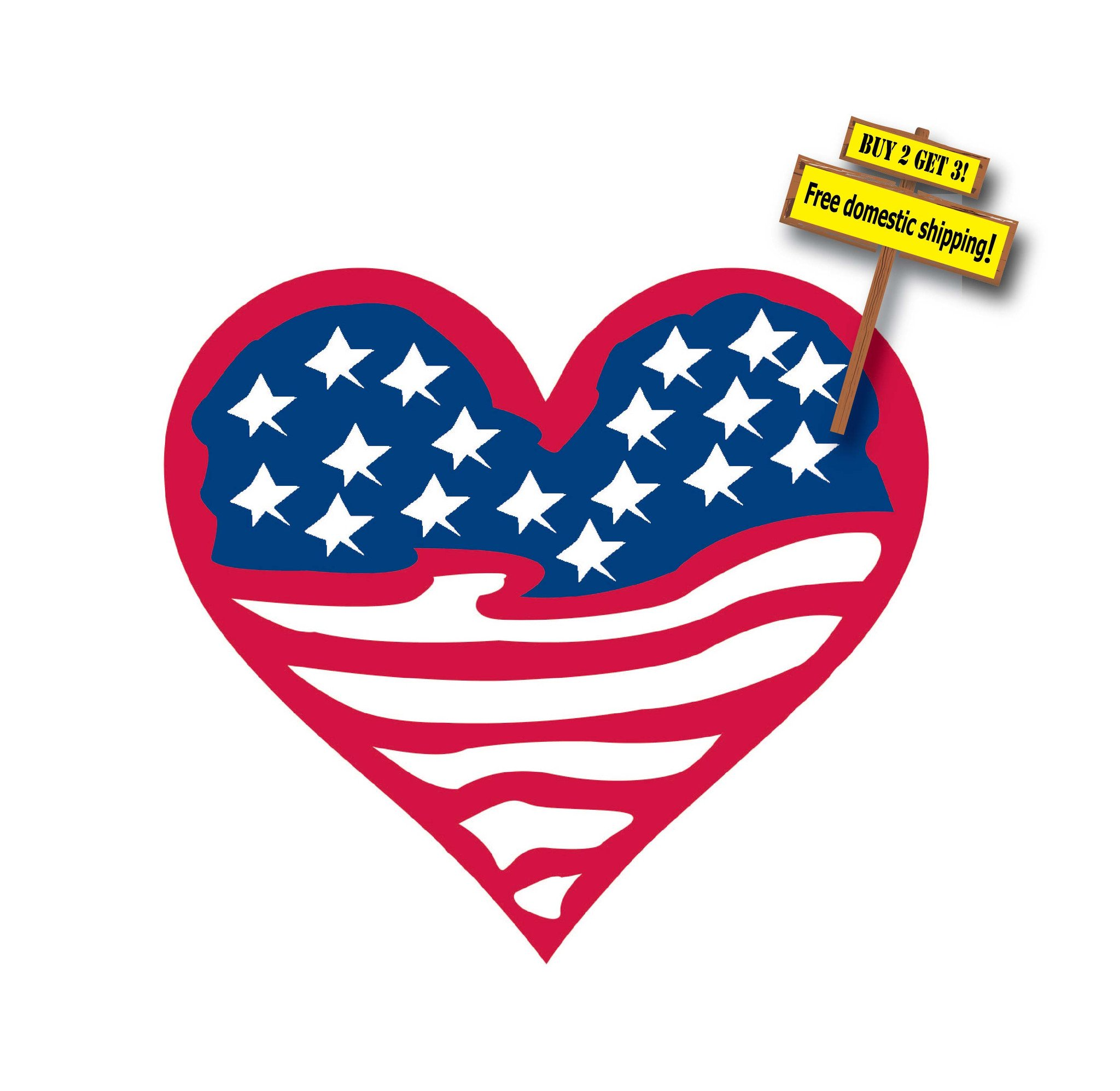 Heart-shaped clipart american flag American Flag American Sticker Shaped