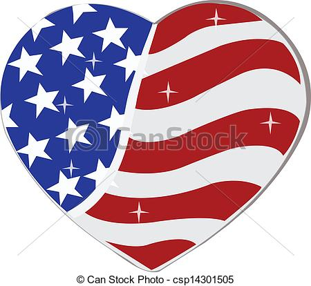 Heart-shaped clipart american flag Heart csp14301505 heart Flag Vector