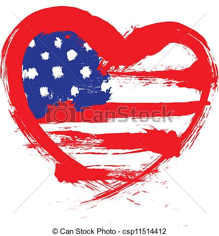 Heart-shaped clipart american flag American Vector  Clip flag