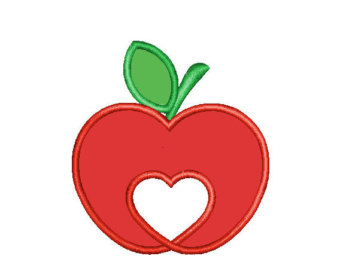 Heart-shaped clipart apple Apple FREE Designs Embroidery Applique
