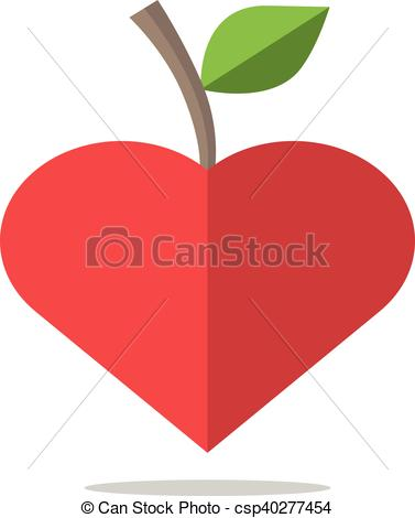 Heart-shaped clipart apple Clipart apple isolated heart of