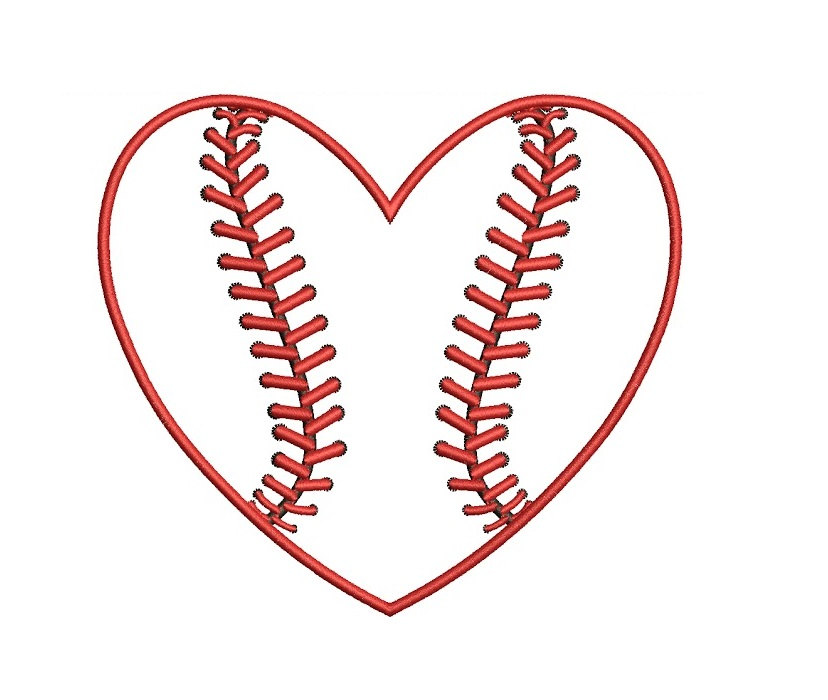 Heart-shaped clipart baseball  Design Digitized Heart Applique