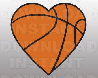 Heart-shaped clipart basketball Template Vector File SVG Etsy