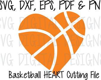 Heart-shaped clipart basketball Digital Cutting Sports SVG Basketball