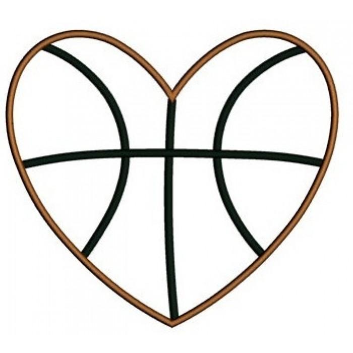 Heart-shaped clipart basketball Basketball Heart Design Applique