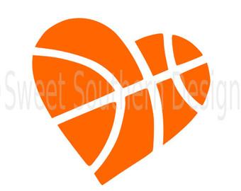 Heart-shaped clipart basketball Cricut or design monogram heart